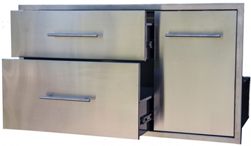 "Picture of BBQ Island Component Built in Stainless Double Drawer and Propane Slide-Out Trash Combo. (39"")"